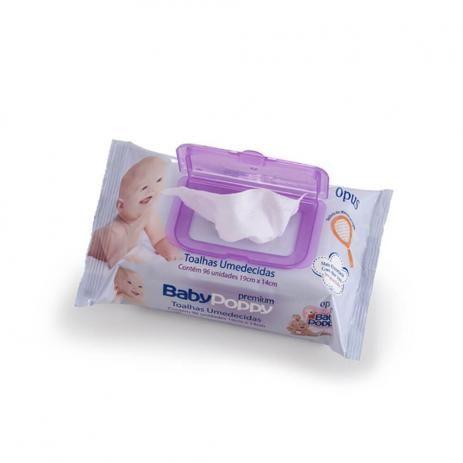 Toalhas Umedecidas Baby Poppy premium com 96 unidades