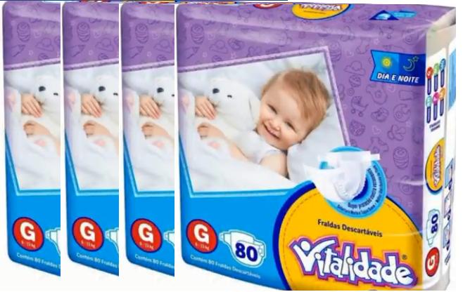 Vitalidade Baby tamanho G fardo com 320 unidades