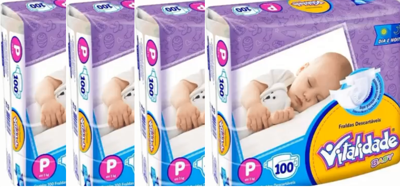 Vitalidade Baby tamanho P fardo com 400 unidades