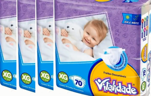 Vitalidade Baby tamanho XG fardo com 280 unidades