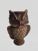 Coruja Decorativa Vaso C/ Olhos Amarelo 34-03