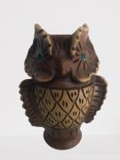 Coruja Decorativa Vaso C/Olhos Verdes 34-07