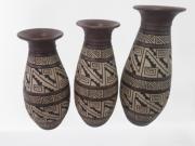 Vaso Cerâmica Marajoara Preto C/3 Pçs
