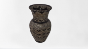 Vaso Cerâmica Marrom Escuro Com Branco M