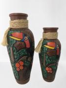 Vaso Decorativo Macapá de Tucano Pintados C/3 Pçs