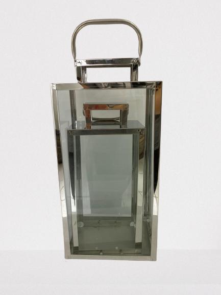 Jogo De Lanterna Decorativa  De Metal Prata Q1885