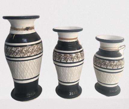 Vaso Cerâmica Colorido C/3 Pçs