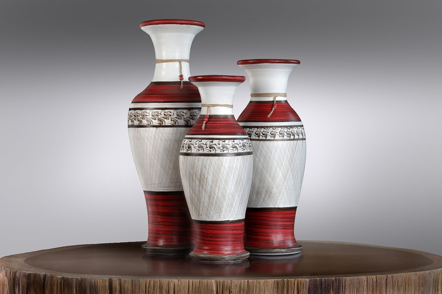 Vaso Cerâmica Floreira Pintado C/3 Pçs
