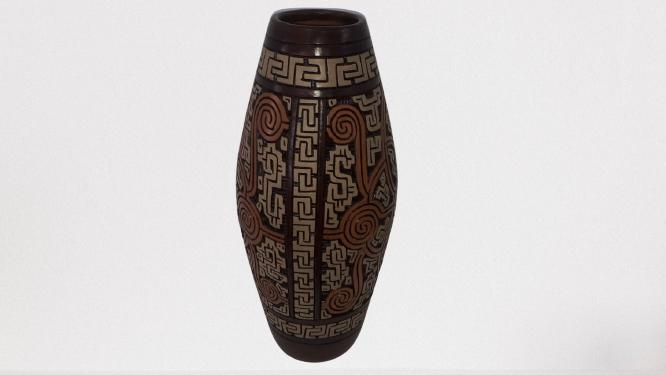 Vaso Decorativo Macapá Marrom com Laranja