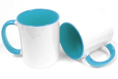 6 Canecas Interior E Alça Colorida Azul Porcelana Sublimação 325ml
