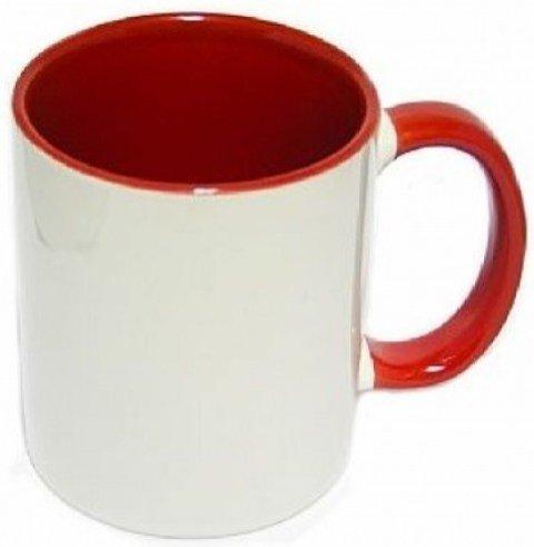 6 Canecas Vermelhas Interior E Alça Colorida Porcelana Sublimação 325ml