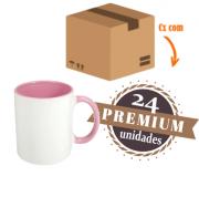 24 Canecas Rosa Interior E Alça Colorida Porcelana Sublimação 325ml