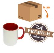 24 Canecas Vermelhas Interior E Alça Colorida Porcelana Sublimação 325ml