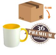 36 Canecas com Interior E Alça Amarela Colorida Porcelana Sublimação 325ml