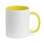 Caneca de Porcelana Branca com Interior e alça Amarelo 325 ml