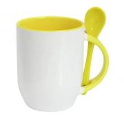Caneca de Porcelana com colher e interior Amarelo Sublimação 325 ml