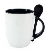 Caneca de Porcelana com colher e interior preta sublimação 325 ml