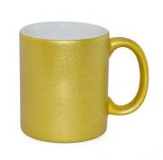 Caneca de Porcelana com Glitter Ouro para sublimação 325 ml