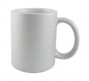 Caneca de Porcelana com Glitter Prata para sublimação 325 ml