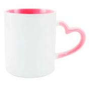 Caneca de Porcelana com  Interior e Alça de Coração  Rosa para Sublimação 325 ml