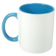 Caneca de Porcelana Interior a Alça Colorida Azul Claro Sublimação 325 ml