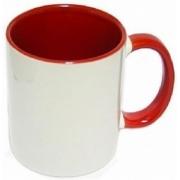 Caneca de Porcelana Interior e Alça Colorida Vermelha Sublimação 325 ml