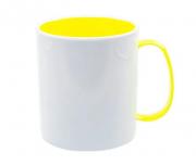 Caneca Polímero Interior Colorido Amarelo Sublimação 325 ml