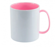 Caneca Polímero Interior Colorido Rosa Sublimação 325 ml