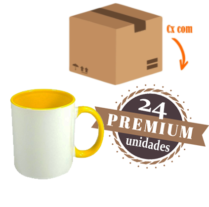 24 Canecas com Interior E Alça Amarela Colorida Porcelana Sublimação 325ml