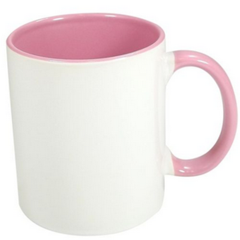 30 Canecas Rosa Interior E Alça Colorida Porcelana Sublimação 325ml