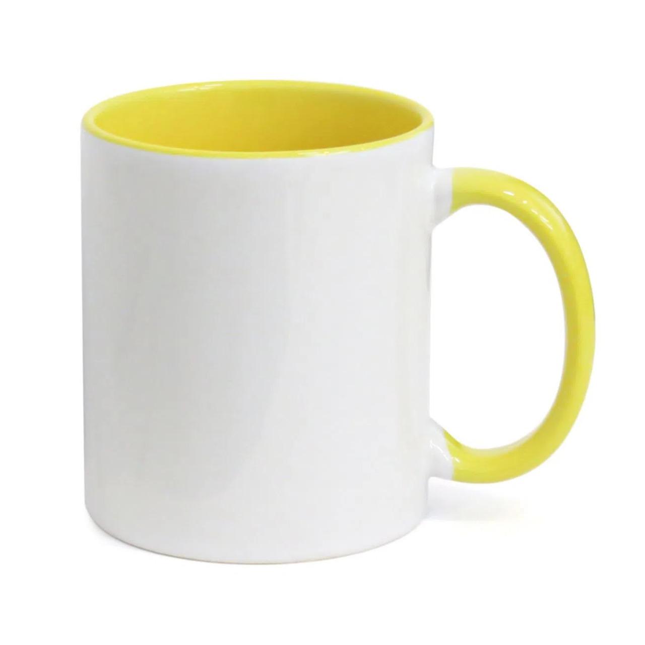 50 Canecas com Interior E Alça Amarela Colorida Porcelana Sublimação 325ml
