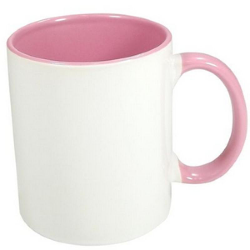 50 Canecas Rosa Interior E Alça Colorida Porcelana Sublimação 325ml