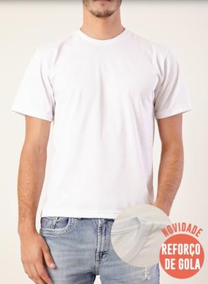 Camiseta 100% Algodão Adulto 30.1 Penteado - Branco