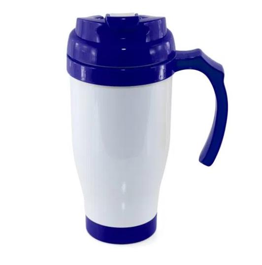 Caneca Copo Térmico Polímero para Sublimação 490 ml Azul