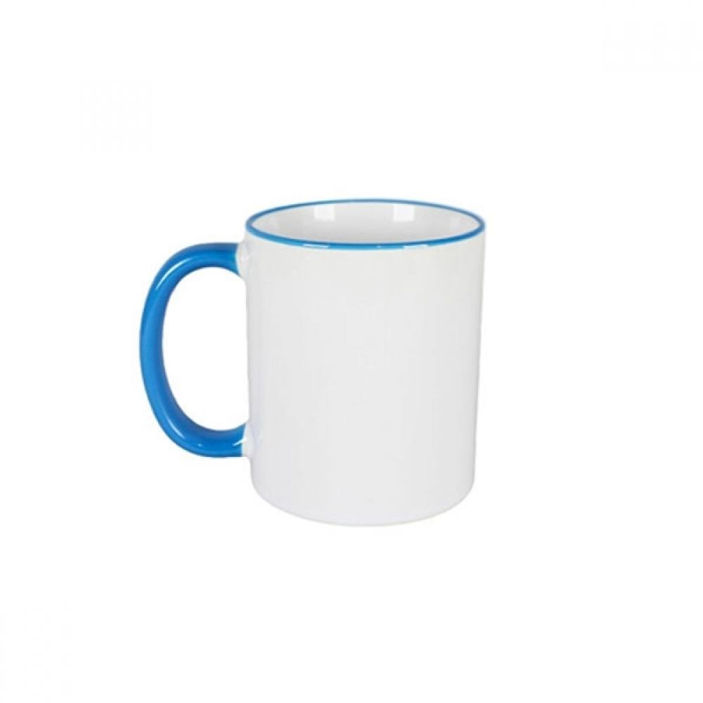 Caneca de Porcelana Borda e Alça Colorida Azul Sublimação 325 ml