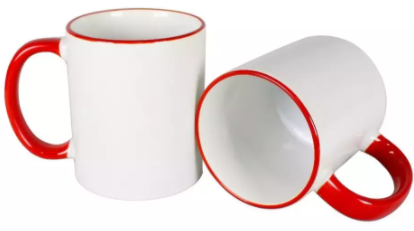 Caneca de Porcelana Borda e Alça Colorida Vermelha Sublimação 325 ml