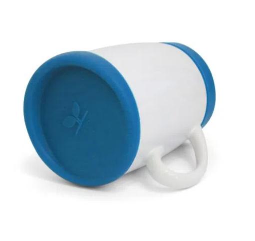Caneca de Porcelana Branca e Tampa e Apoio de Silicone Azul para sublimação 325 ml