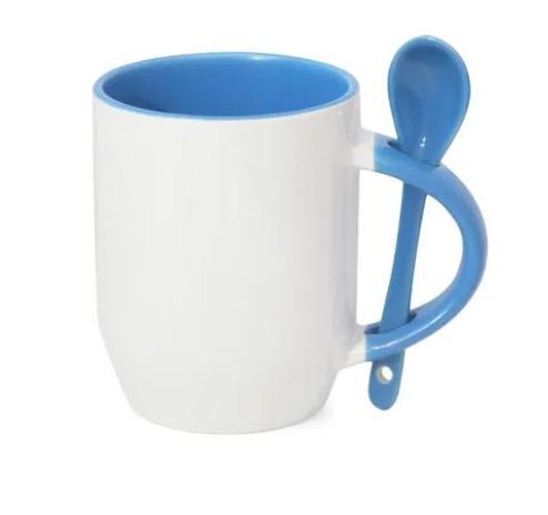 Caneca de Porcelana com interior e colher Azul 325 ml