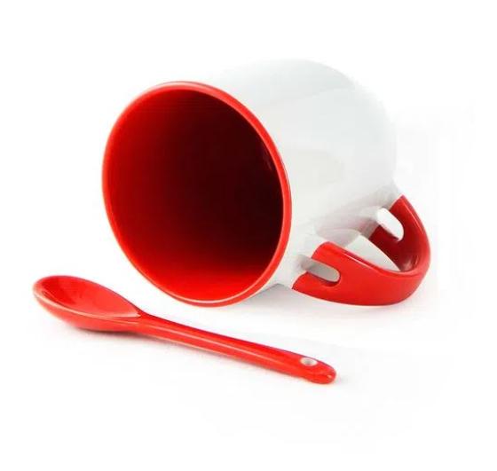 Caneca de Porcelana com interior e colher Vermelha 325 ml