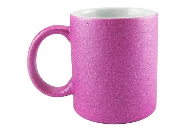 Caneca de Porcelana  com Glitter Rosa para sublimação 325 ml