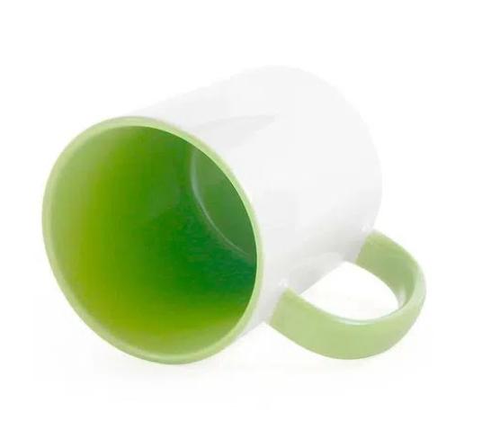 Caneca de Porcelana com interior e alça colorida Verde Sublimação 325 ml