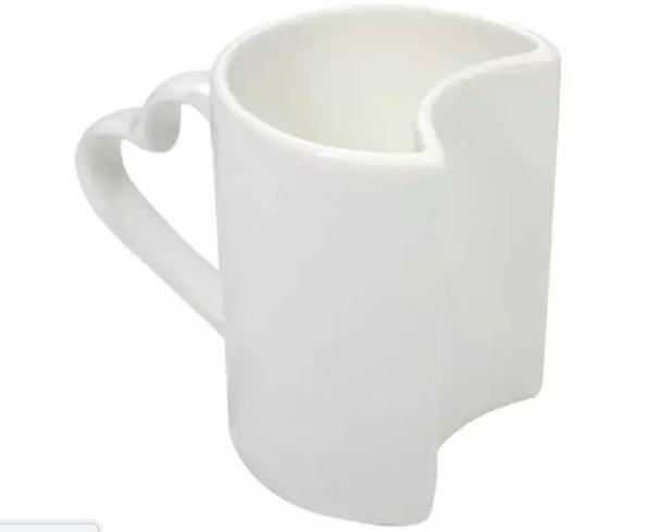 Caneca de Porcelana Dupla love com alça de coração branca para sublimação 325 ml ( 2 unidades)