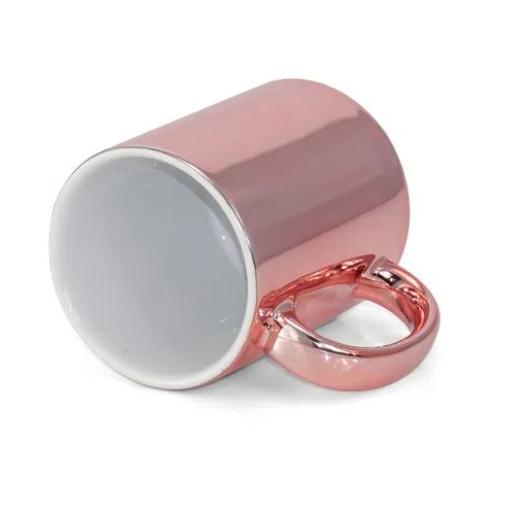 Caneca de Porcelana Espelhada Rose para Sublimação 325 ml