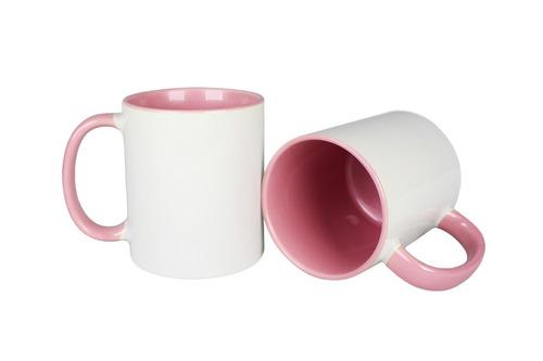 Caneca de Porcelana Interior e Alça Colorida Rosa Sublimação 325ml