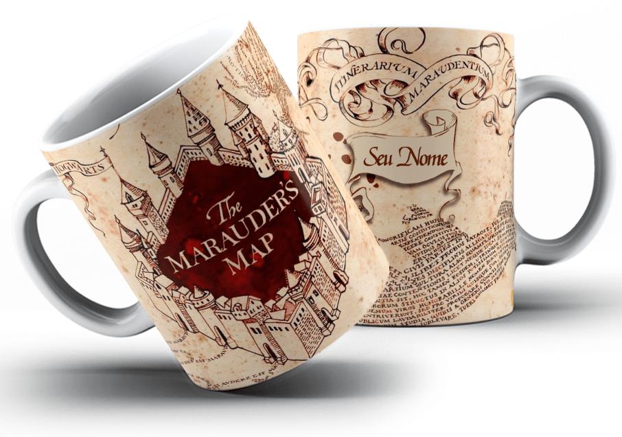 Caneca Mágica Harry Potter Mapa Do Maroto Cerâmica Presente