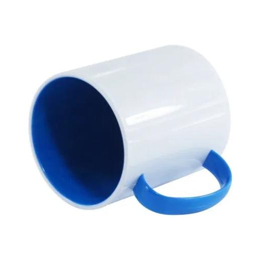 Caneca Polímero Interior Colorido Azul Sublimação 325 ml