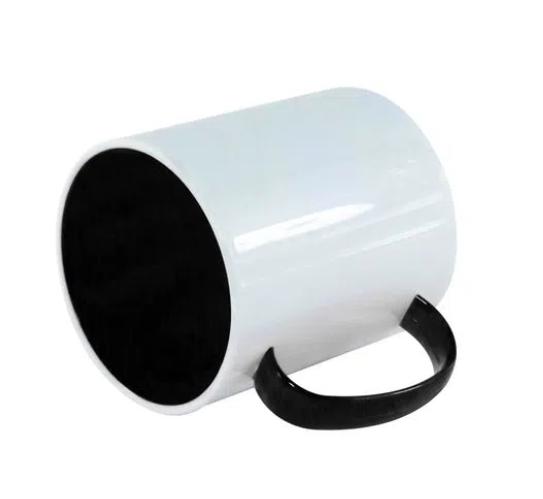 Caneca Polímero Interior Colorido Preto Sublimação 325 ml