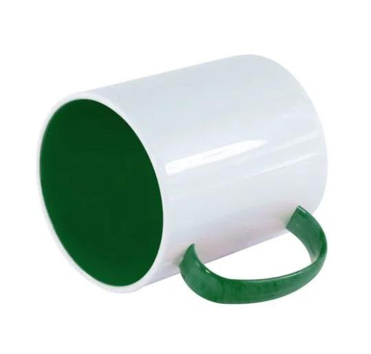 Caneca Polímero Interior Colorido Verde Sublimação 325 ml