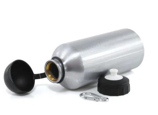 Squeeze de Alumínio Prata tampa Bola Preta para Sublimação 500ml