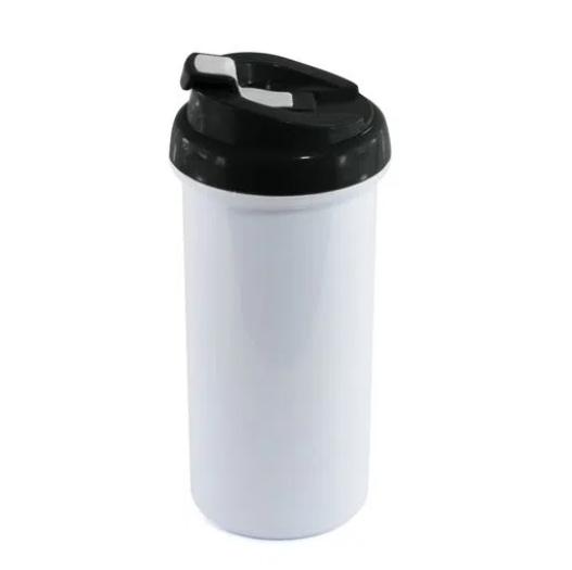 Squeeze de Polímero Branco para Sublimação com Tampa Preta - 475ml